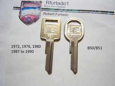 Key Blanks Chevorlet Pontiac Oldsmobile Buick Cadillac 1972,1976,1980,1987-90