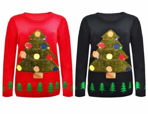 Nouveau Unisexe Manches Longues Homme Femmes arbre de Noël Lumière Flash Pull en mailles