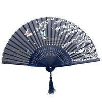 Classic Portable Silk Japanese Spanish Design Handheld Folding Fan For Summer