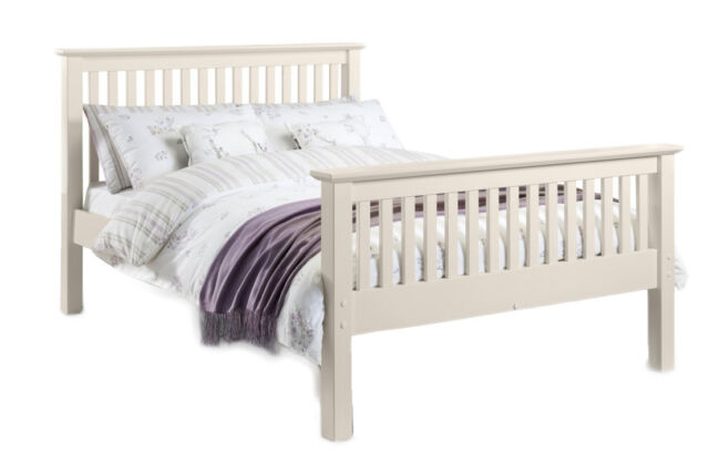 BARCELONA STONE WHITE (CREAM) BED FRAME DOUBLE 135CM 4ft 6  HIGH FOOT END