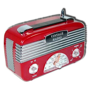 Retro-Vintage-40-039-s-AM-FM-Radio-Vintage-Red