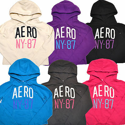 Aeropostale Womens Sweatshirt Hoodie Cutoff Distressed Graphic Pullover Crop