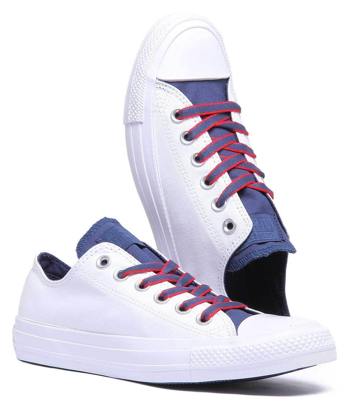 Converse Chuck Taylor Taylor Chuck All Star Ox Women Canvas White Blue Trainers 872f57