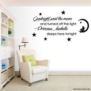 Image Is Loading Goodnight Said The Moon Personalised Wall Art Quote