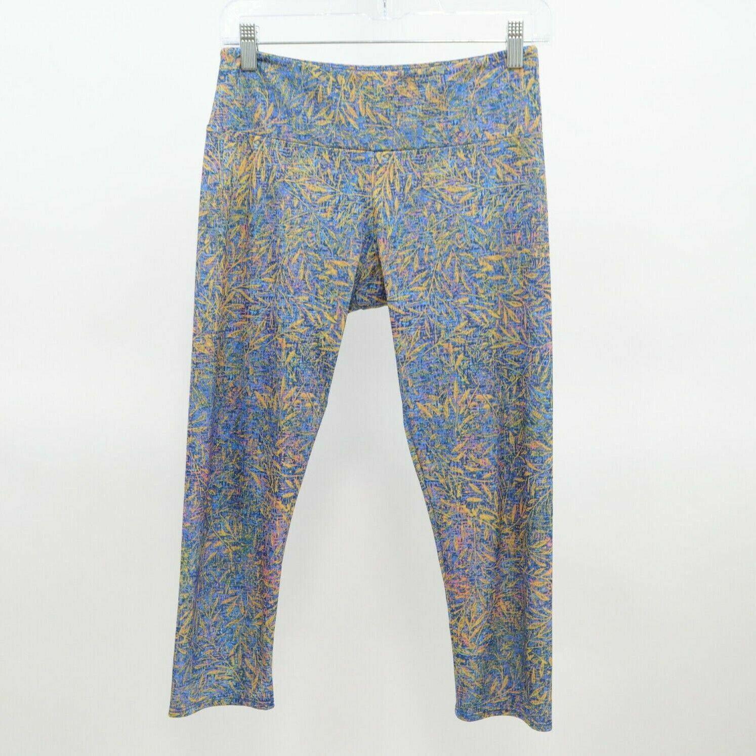 Onzie Leggings Yoga Pants Womens M/L Graphic Print Blue Yellow Pink Leaf