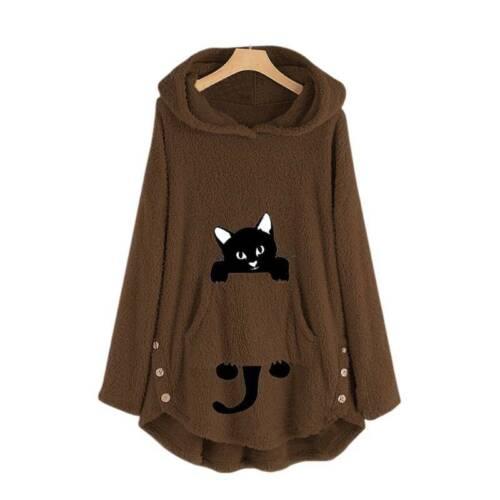 Women Winter Hoodie Sweatshirt Fleece Fluffy Cat Jumper Hooded Pullover Top Coat