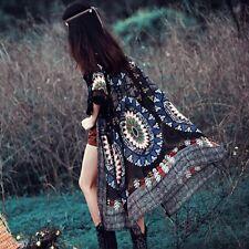 Boho Women Vintage Floral Print Long Cardigan Coat Kimono Blouse Chiffon Tops