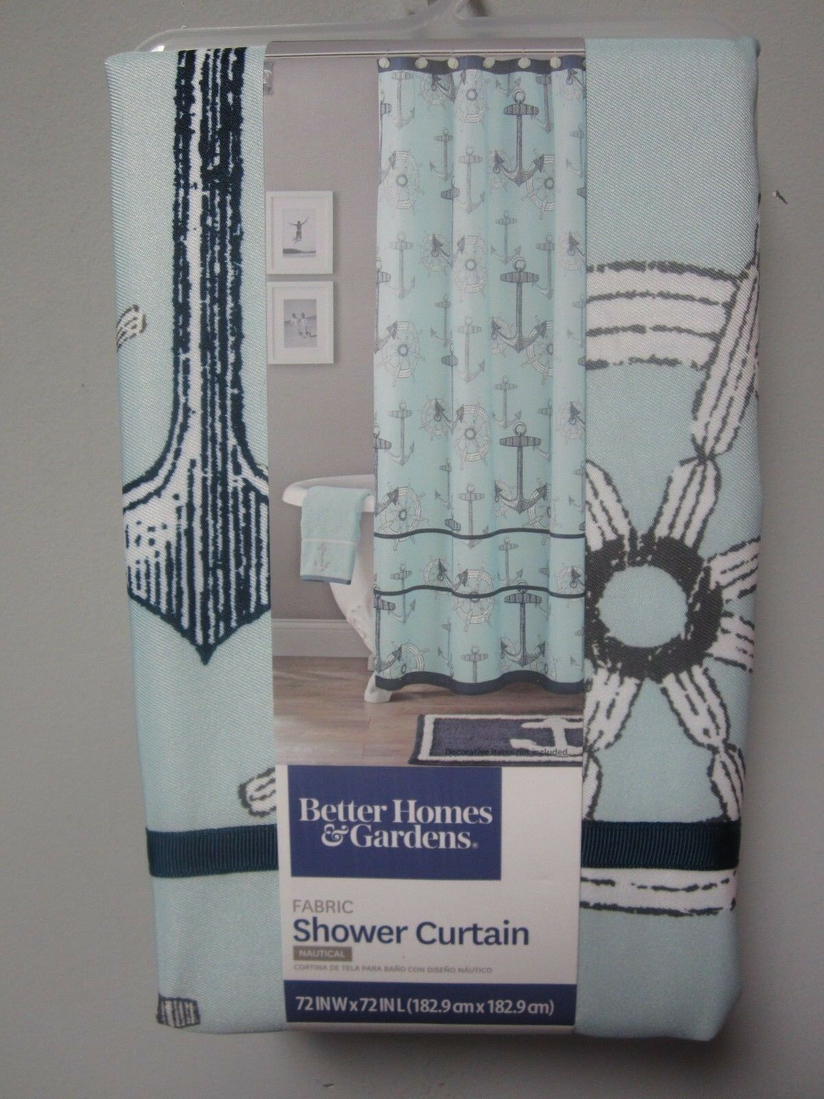Better Homes Gardens Nautical Shower Curtain Fabric Size 72 In L X 72 In W For Sale