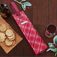 Tupperware Wine Bottle Insulated Gift Bag Tote Perfectly Plaid W/ Handles