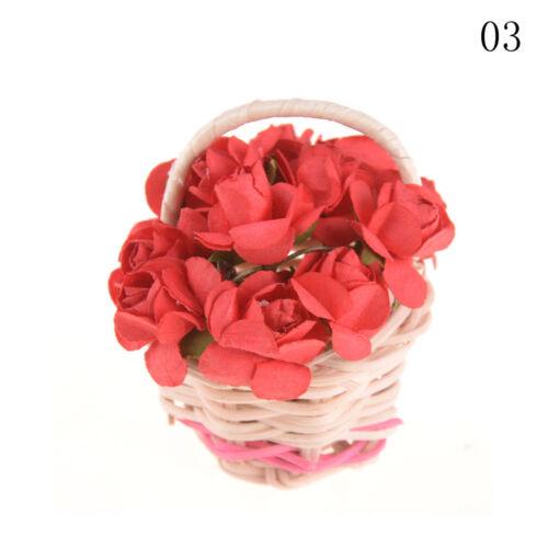 Dollhouse Miniature Lily Rose Flower Basket Dollhouse Decor Ornaments SK
