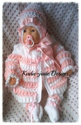 Knitting Pattern #21 (INSTRUCTIONS) 4 Piece Matinee Set for 0-3m Baby