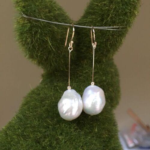 Baroque 11//12mm Kasumi Freshwater pearl 100/% White 14KGF earring 45mm136