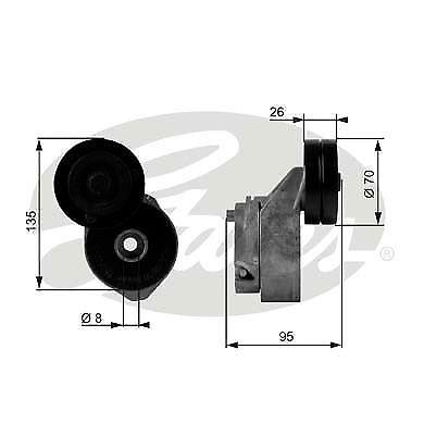 v-ribbed belt GATES T38430 Tensioner Pulley