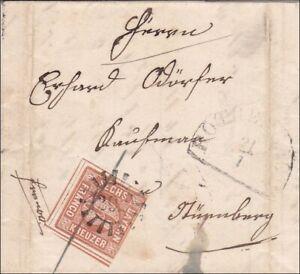 Bayern-Briefumschlag-1852-STEMPEL-292-nach-Nuernberg