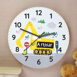 Childrens-Personalised-Digger-Wooden-Bedroom-Clock-Add-Childs-Name-Girl-Boy