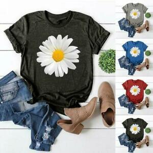Summer-Casual-Loose-Tops-Women-Daisy-Print-T-Shirts-Short-Sleeve-Daisy-Fashion