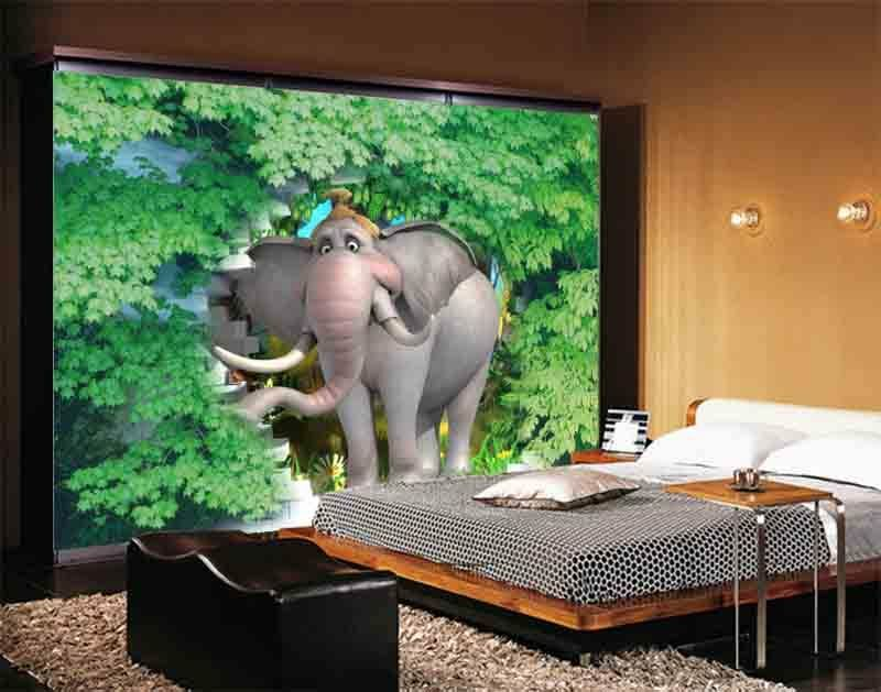 Elephant And Leaf 3D Full Wall Mural Photo Wallpaper Printing Home Kids Decor