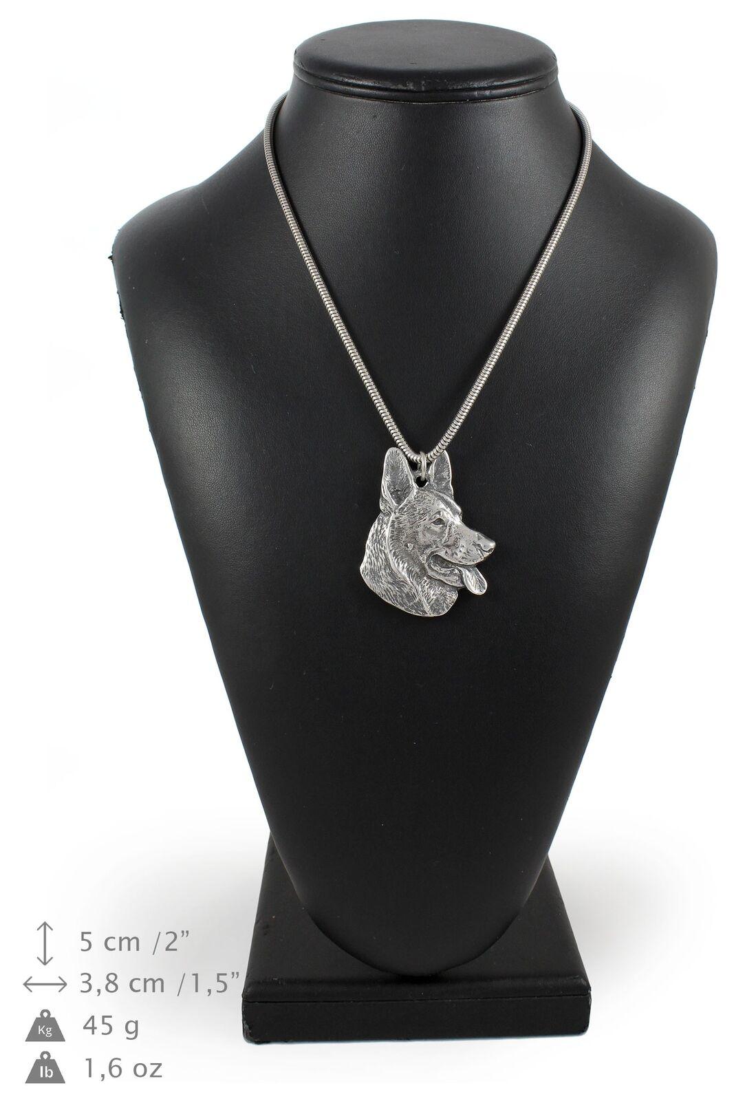 Berger allemand - silver plaqué collier sur une cordon en silver Art Dog FR