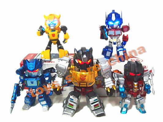 Set 5 G1 Transformers TF01 Led Eyes Light Toy Figure Doll Bumblebee Nuovo In Box