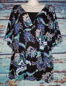 4f4c0324981 Image is loading Dress-Barn-Black-Blue-Tunic-Top-Women-039-