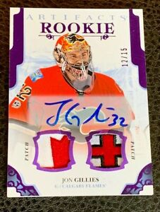 2017-18-Ud-Artifacts-Purple-Rookie-Canada-Alberta-Flag-Patch-Auto-Jon-Gillies
