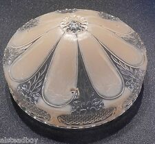 Art Nouveau or DECO  Hanging Glass LAMP SHADE 3 Chain Holes Gold Basket Weave