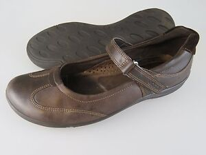 Image is loading ECCO-Brown-Leather-Mary-Jane-Casual-Shoes-Women-