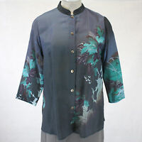 Citron Clothing Plus Size Teal Floral Button Down Blouse 3x
