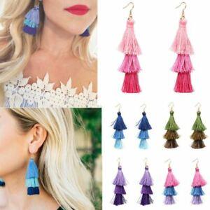Women Fashion Bohemian Three Color Tassel Boho Hook Dangle Earrings Jewelry Gift