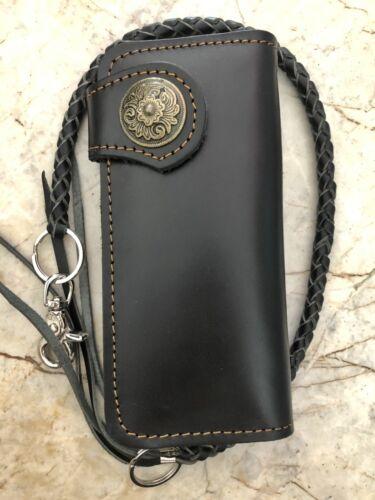 Mens Black Bifold Wallet Trucker Biker Wallet Motorcycle Long Leather Wallet 01