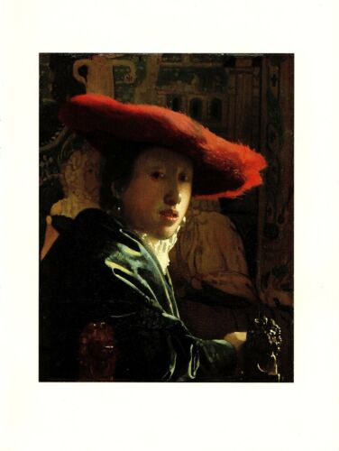 """1981 Vintage VERMEER /""""THE GIRL WITH A RED HAT/"""" GORGEOUS COLOR offset Lithograph"""