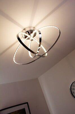 LED Plafoniera Lampada da Soffitto Design Moderno Anelli Metallo Cromato 74044