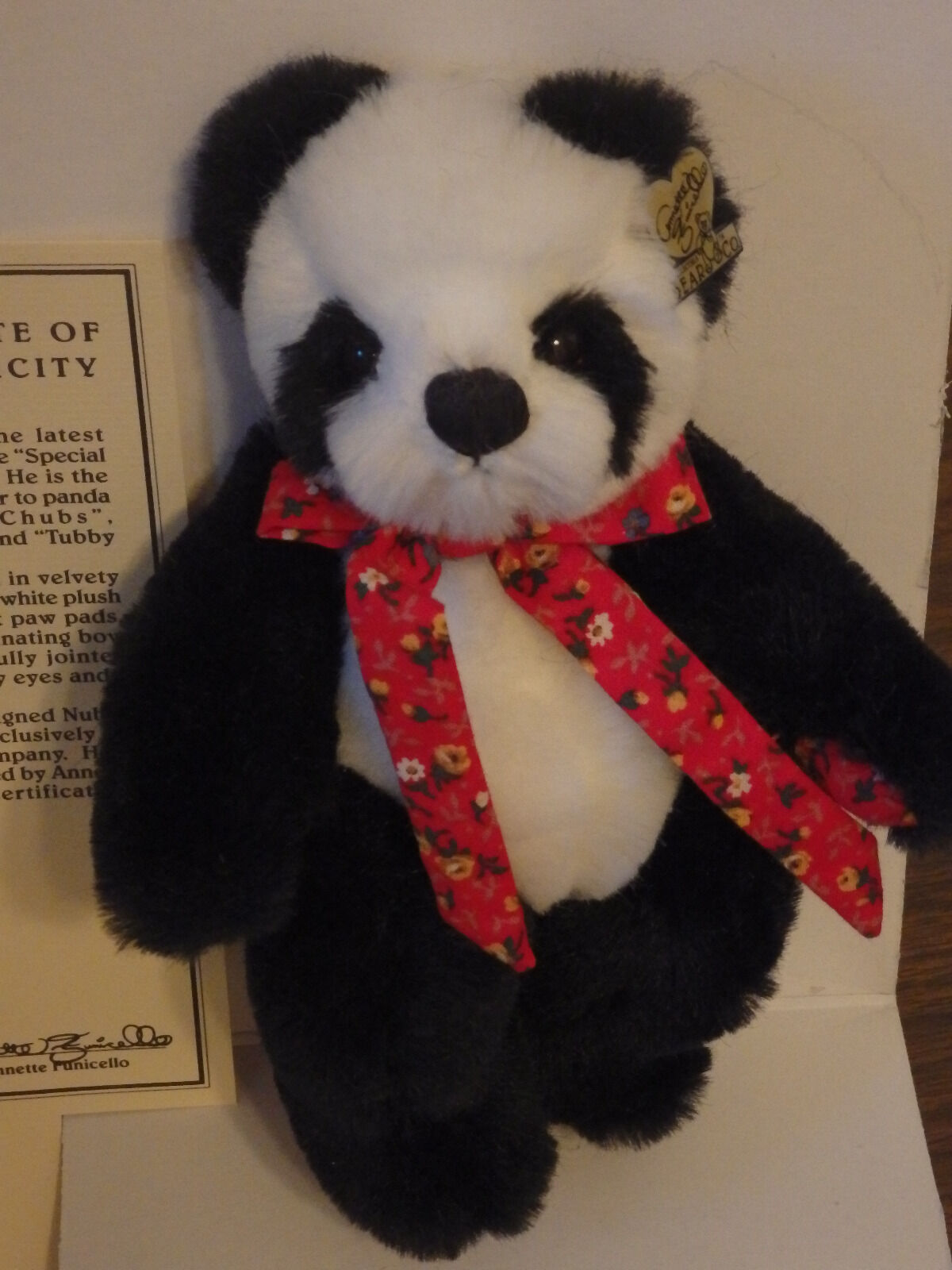 Annette Funicello Plush Panda Bear Nubby Special Collection  6082 of 7500 NIB