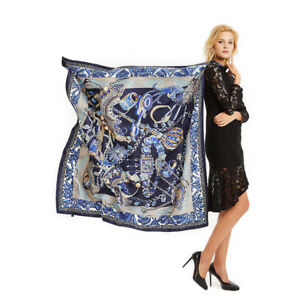 Women-039-s-Fashion-Paisley-Print-Scarf-Blue-Large-Blanket-Shawl-Hijab-Wraps-51-034-51-034