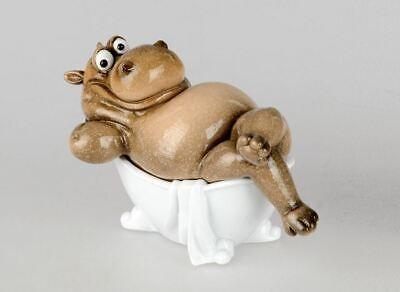 768063 Nilpferd in Badewanne 16cm lustiger Deko aus Kunststein gefertigt