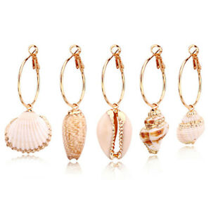 Shell-Jewelry-Shell-Gold-Dangle-Drop-Earrings-For-Women-Circle-Pendant-Earring