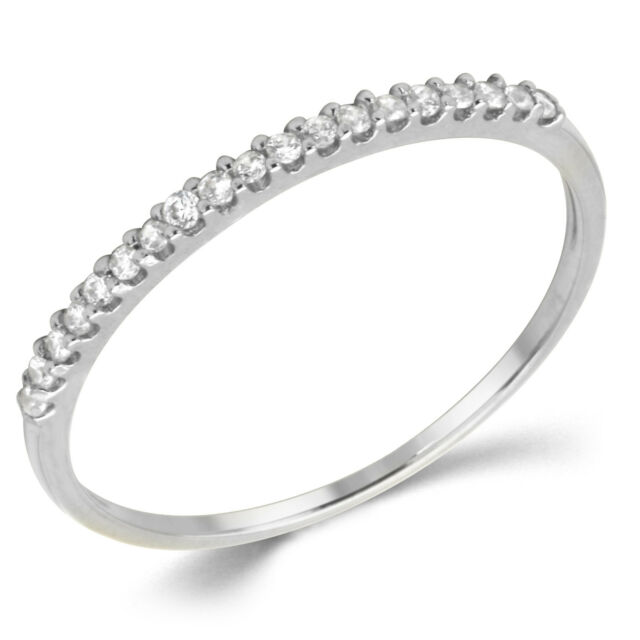 14K Solid White Gold White CZ Cubic Zirconia Stackable Anniversary Ring Band