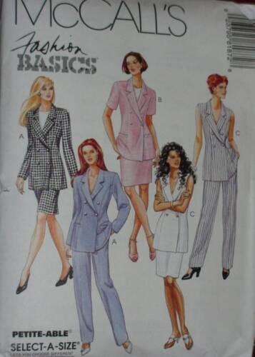 8187 McCalls SEWING Pattern Misses 3-Pc Suit Jacket Skirt Pants UNCUT SEWING OOP