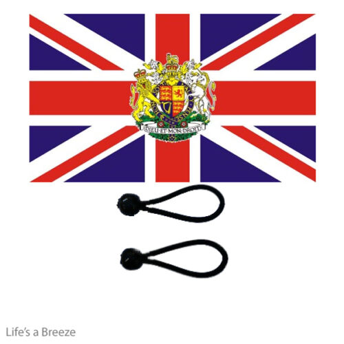 Union Jack Crest Flag 5 x 3Ft Poles Or Windsocks Poles Comes With Free Ball Ties