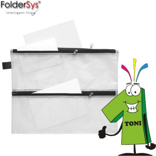 FolderSys Kleinkrambeutel A4 4 in 1 Reißverschlußbeutel Sichttasche transparent