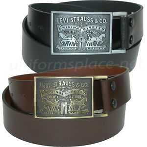 Levis-Leather-Belt-Mens-1-1-2-034-genuine-bridle-leather-strap-with-plaque-buckle