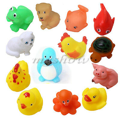 13Pcs Cute Soft Rubber Float Sqeeze Sound Baby Wash Bath Play Animals Toys New