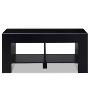 2-Tier Wood Side End Coffee Table Modern w/ Storage Shelf Living Room Black