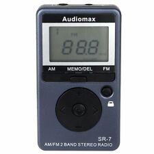 AM FM PERSONAL SPORTS RADIO STEREO PORTABLE POCKET DIGITAL DISPLAY EARPHONES