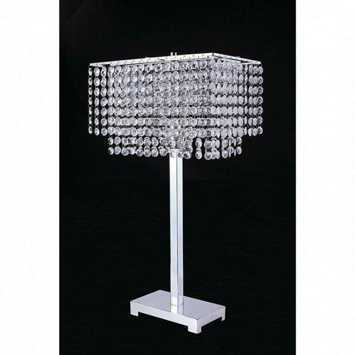 Home Need Table Lamp Diamond Cut Faux Crystal Metal Base