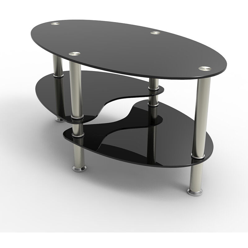 BLACK GLASS OVAL COFFEE TABLE WITH SHELVES AND CHROME LEGS