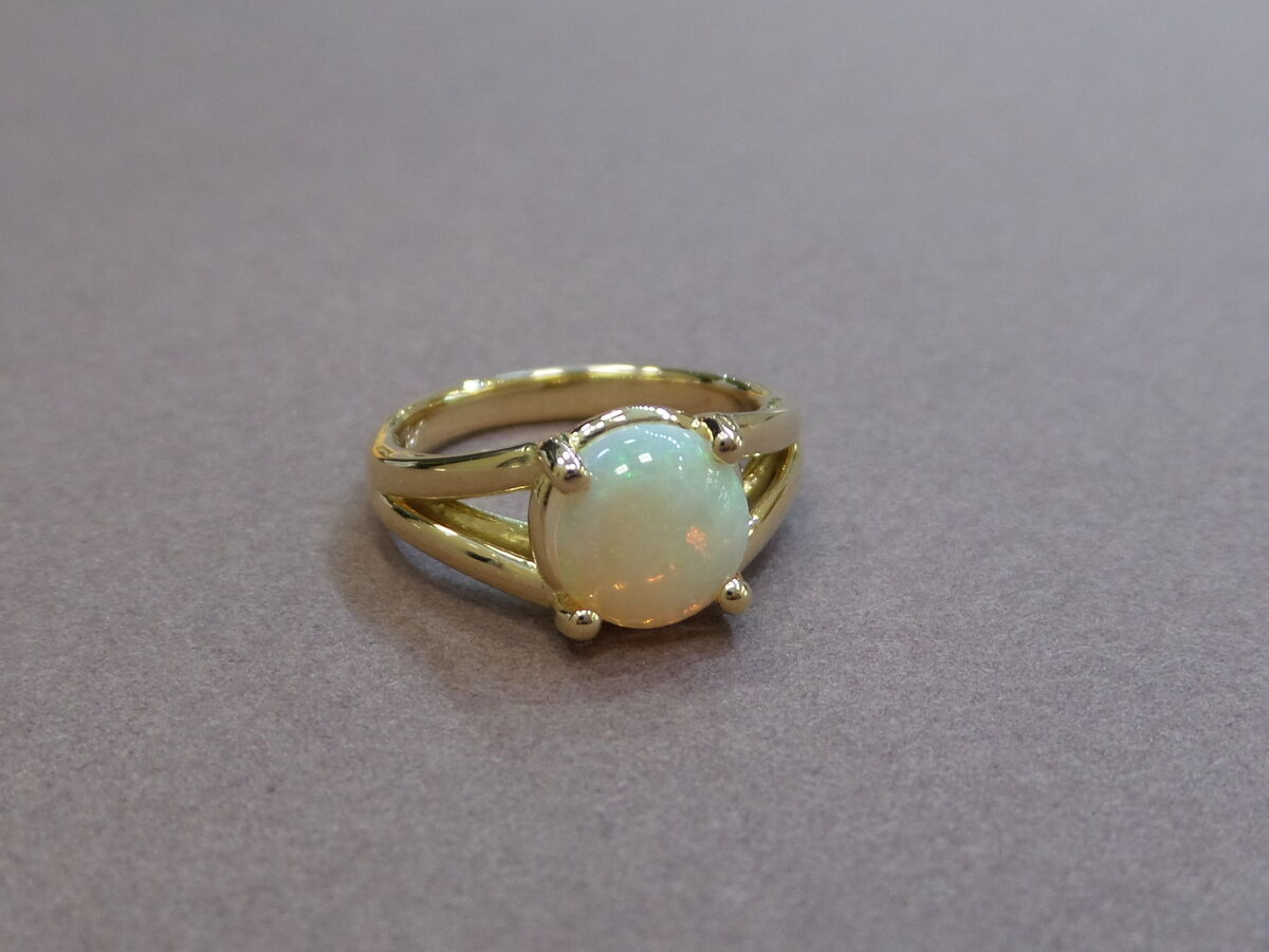 18 K YELLOW gold OPAL RING NATURAL 8 MM OPAL 1.02 CT OPAL ENGAGEMENT RING