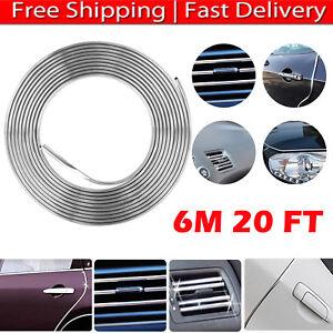20FT-Long-Silver-Chrome-Car-Door-Edge-Guard-Molding-Trim-Protectors-Strip-Cover