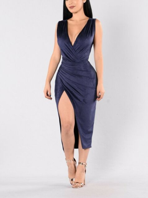 New Navy Blue V-Cut Sleeveless Faux Suede Cocktail Dress size M 10