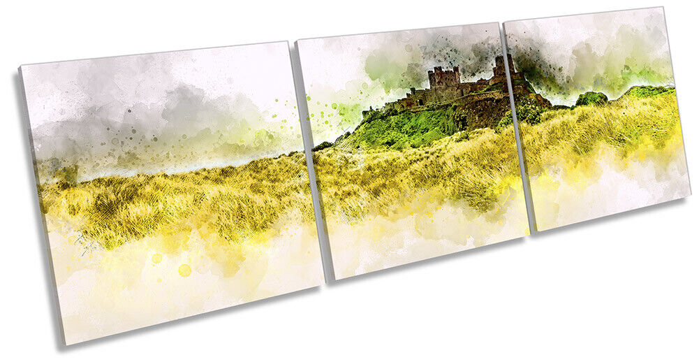 Bamburgh Castle Northumberland Picture CANVAS WALL ART Triple Print Grün